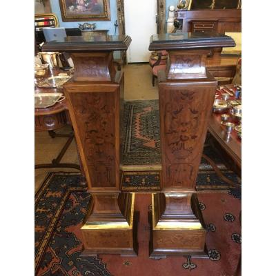 Pair Of Columns 'sheath' Mahogany And Brass Marquetry