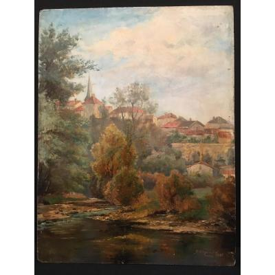 Dordogne Landscape Painting By A Gross