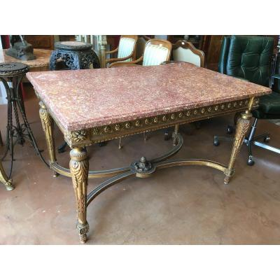 Middle Table Golden Wood Top Red Marble Nineteenth.