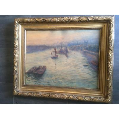 Large Watercolor The Thames In London By Guinier Nineteenth