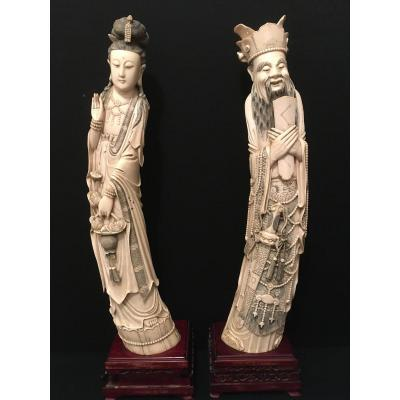 China Important Ivory Sculptures Couple Of Dignitaries Late Nineteenth