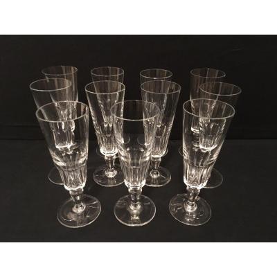 Eleven Baccarat Crystal Flutes Missouri Model