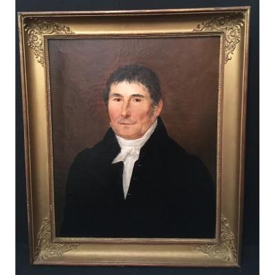 Portrait d'homme époque Restauration 1830 .