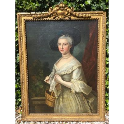Large Painting Portrait Lady Of Quality Eighteenth Century In Its Golden Wood Frame