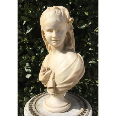 Buste Jeune Fille En Marbre De Carrare Fin XIX ème .