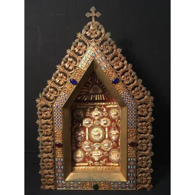 Reliquary In Enameled Bronze Napoleon III Nineteenth