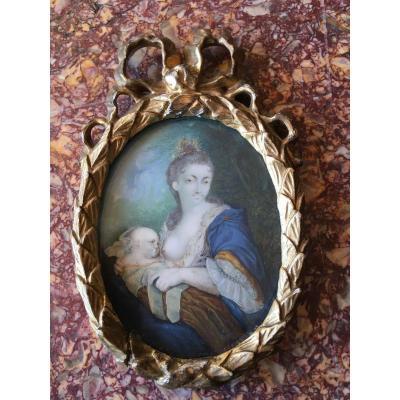 Miniature On Ivory Maternity Eighteenth Century