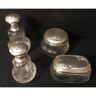 Art Nouveau Crystal Silver Mounted Toiletries Set