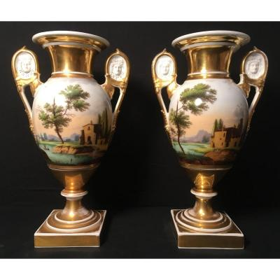 Paire De Vases Empire Restauration En Porcelaine De Paris
