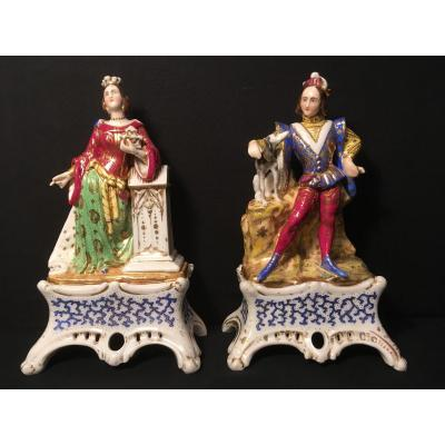 Porcelaine De Paris Couple Style Troubadour Formant Vases Soliflores