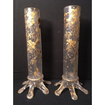 Paire De Vases Verre à Décor Végétal Clématites En Dorure Napoléon III.