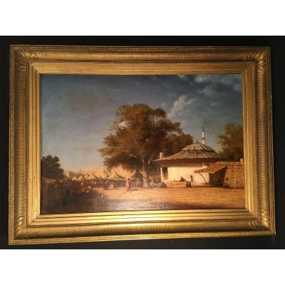 Large Orientalist Painting Market Scene XIXth Circa 1830-1840