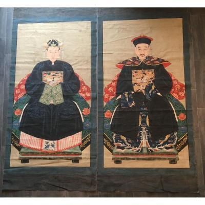 Chine Paire De Grandes Peintures Portraits De Dignitaires XIXème
