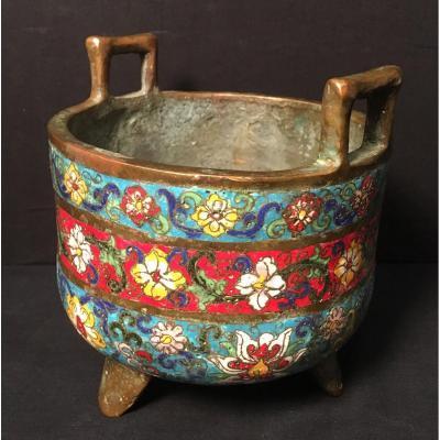 China Bronze Enameled Cloisonne Perfume Burner Nineteenth Century