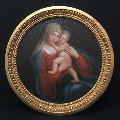 École Italienne Tableau En Tondo Vierge à l'Enfant Du XVIIIème