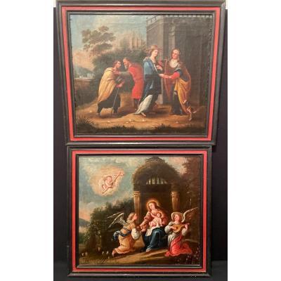 école Italienne Paire De Tableaux  Scènes de la vie de la Vierge  XVIIIème