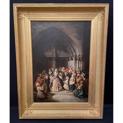 Painting Christian Charity In Front Of A  Church Nineteenth Century