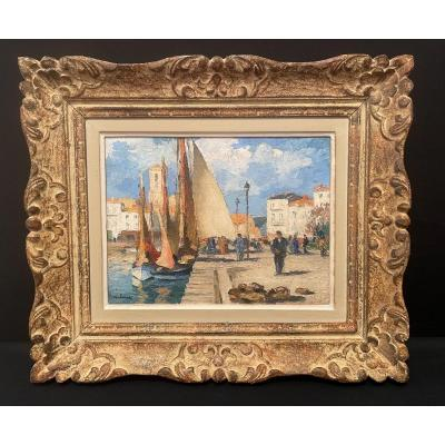 Painting Port Of La Rochelle By Gaston Balande