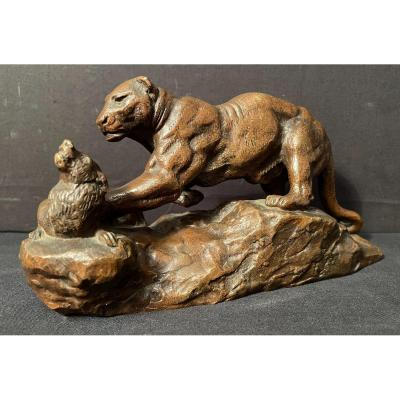 Bronze Panther Surprising A Zibeth By Barye Fonte Brame Nineteenth Century