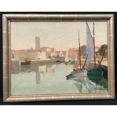 Painting Port Of La Rochelle By Charles Jean Lamour Early Twentieth Century