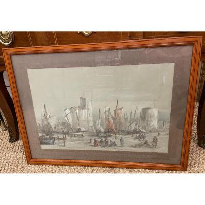 Drawing Port Of La Rochelle By Antoine Frémy 1869