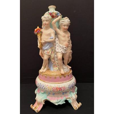 Center Table Allegory Of The Four Elements Meissen? XIXth Century