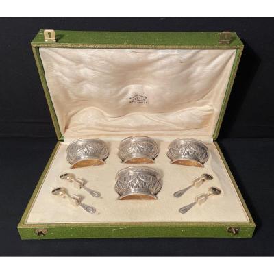 Puiforcat Quatre Salerons Sterling Silver Louis XVI Style