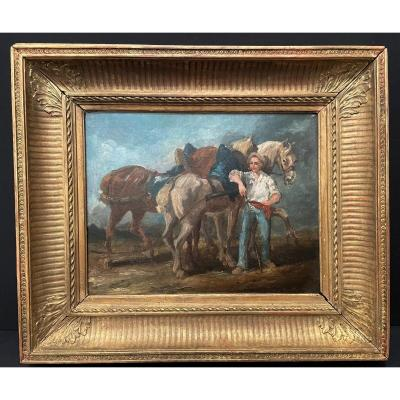 Painting Horses And Palfrenier Early Nineteenth