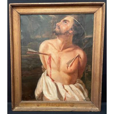 Religious Painting The Martyrdom Of Saint Sebastian French School Of The XIXth.