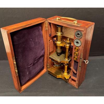 Microscope Composé à Inclinaisons Par Bouquette Vers 1885