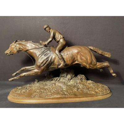 Bronze Galloping Horse Jockey By Lenordez Nineteenth Century