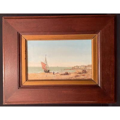 Seaside Marine Painting By Chapron Nineteenth