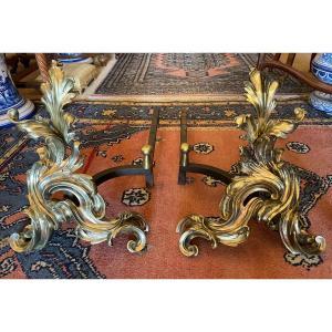 Importante Paire De Chenets Bronze Style Louis XV Rocaille XIXème
