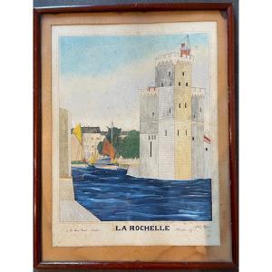 Aquarelle La Tour Saint Nicolas à La Rochelle Par Gilbert Pajot