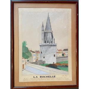 Aquarelle La Tour De La Lanterne Ou Tour des  4 Sergents à La Rochelle Par Gilbert Pajot