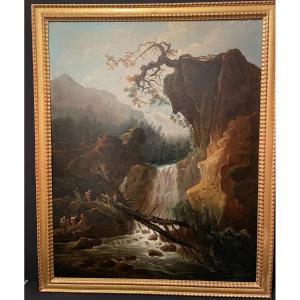 Grand Tableau La Traversée Du Torrent Par Choisnard 1866