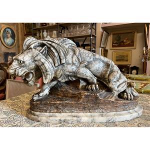 Sculpture Albâtre Lion Rugissant 45 cm Par Thomas Cartier Début XXème .