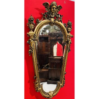 Large Mirror In Carved And Gilded Wood