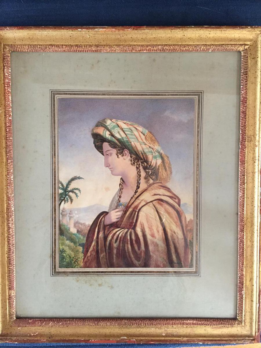 "Aquarelle"" Femme Orientale"". F. Grenier De St Martin"