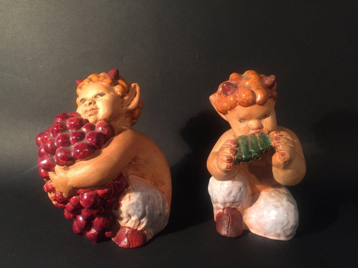 Paire de Petits Faunes en Céramique. J. Noël.
