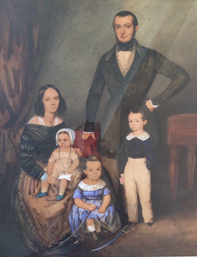 Portrait De Famille XIXème. Aquarelle avec rehauts de Gouache.