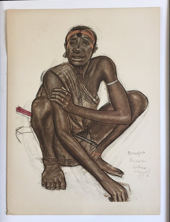 Homme Africain Accroupi. Lithographie d'A. Iacovleff.