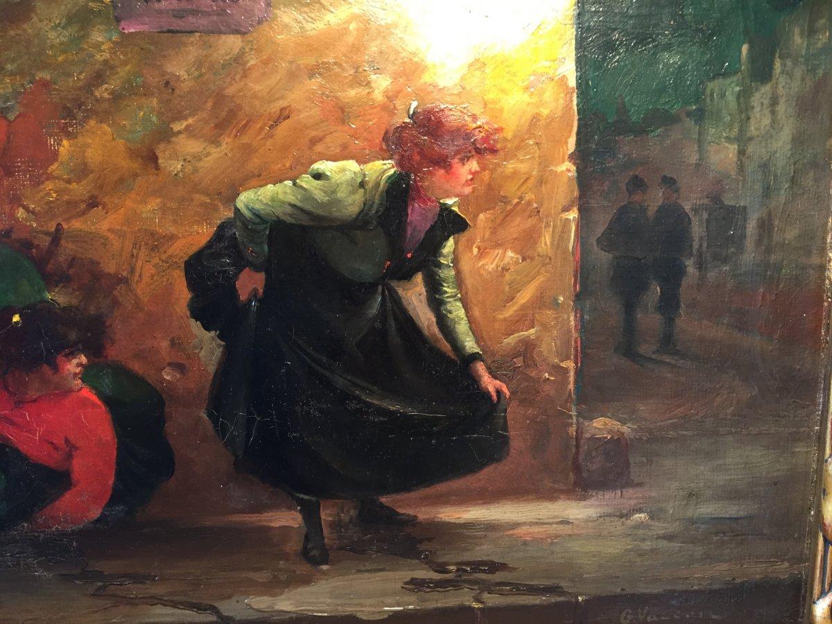 «Scène nocturne dans Paris. La Pisseuse ». Huile sur toile.