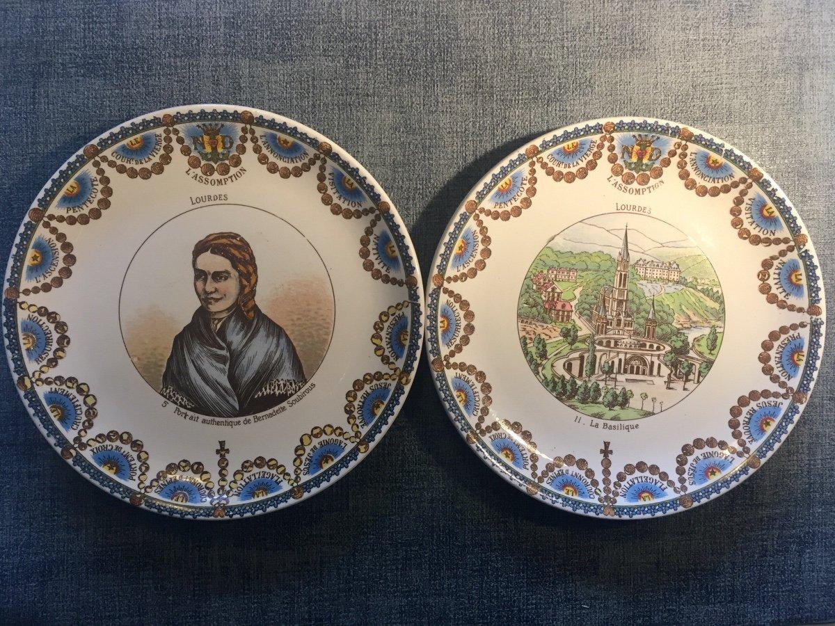 Suite De 12 Assiettes Parlantes XIXème. Lourdes.-photo-4