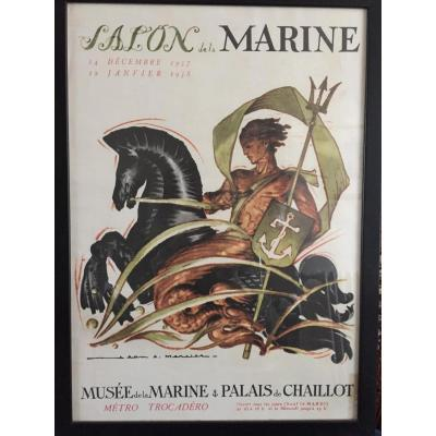 Affiche Salon de la Marine. J.A. Mercier 1957
