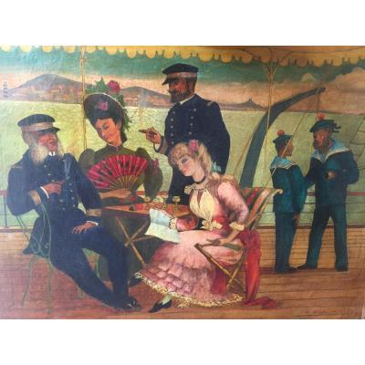 Tableau XIXème. «En Croisière». Y. Le Bihan