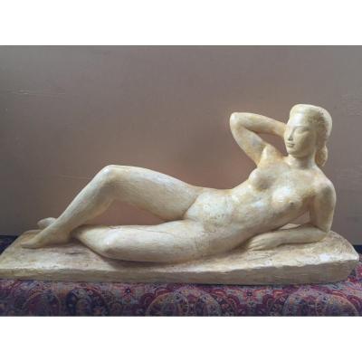 Sculpture By Lucien Gibert. Naked Lying. Original Workshop Plaster