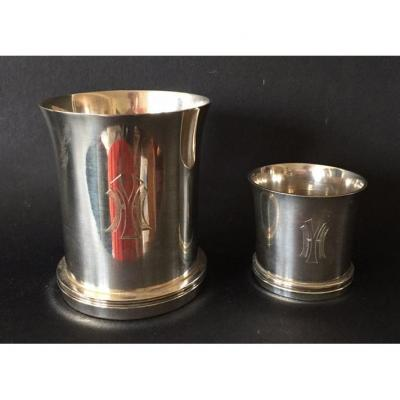 Puiforcat. Art Deco Silver Timpani And Egg Cup.