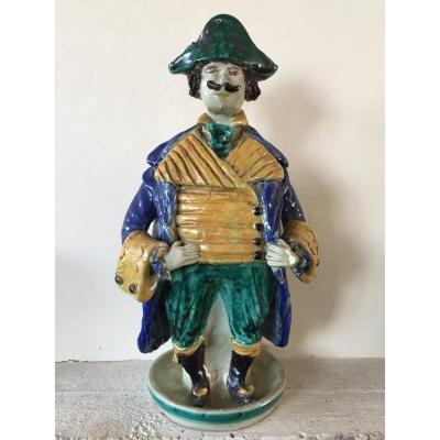 Candlestick In Ceramics XXth. Character In 18th Costume