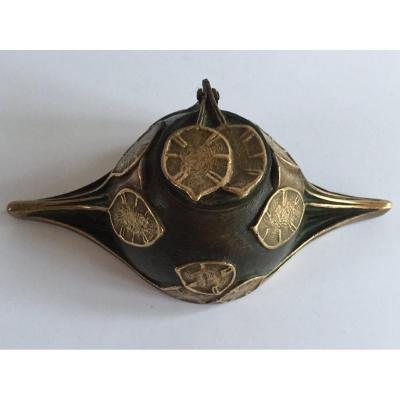 Inkwell. Art Nouveau Bronze. G. Potiez.
